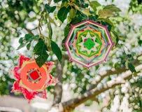 Tow Multicolor Mandalas op de Aard Groene Achtergrond Stock Fotografie