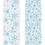 Two vector seamless decorative border with outlined stylized snowflakes. Tow nondirectional vector decorative border with outlined snowflakes dense packed on Royalty Free Stock Images