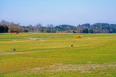 Tow plane and glider  ready for take-off. Royalty Free Stock Image