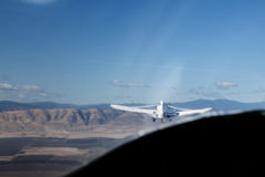 Tow Plane Viewed From Glider Cockpit With Landscape Royalty Free Stock Photography