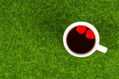 Tow red heart. Shape in coffee cup on grass Stock Images
