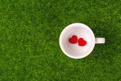 Tow red heart. Shape in blank cup on grass Stock Photo