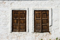 Tow rustic Windows wooden Closed Stock Image