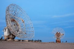 Tow Satalite dish in blue sky. 2 Satalite dish with dameged by Saddam Husain in kuwait in 1990 Stock Images