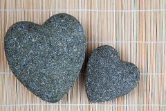 Tow stone hearts Royalty Free Stock Image
