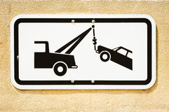Tow truck. No parking sign - tow truck Royalty Free Stock Photography