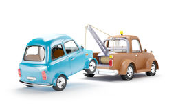 Tow Truck And Car Back View Stock Images