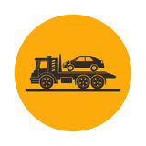 Tow truck with broken car. Round the clock evacuation of cars. Design can be used as a logo, a poster, advertising, singboard. Vector element of graphic design Stock Photo
