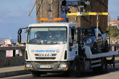 Tow Truck in Bulgaria Immagine Stock Libera da Diritti