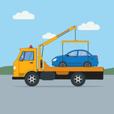 Tow truck with car. Royalty Free Stock Image