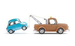 Tow truck and car side view Stock Photos