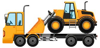 Free Tow Truck Carrying Bulldozer Isolated Background Stock Photography - 217047012