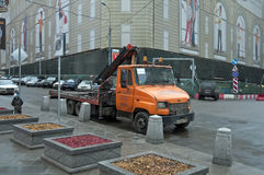A tow truck in the center of Moscow. Russia. Royalty Free Stock Photo