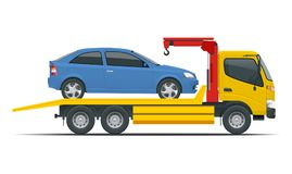 Tow truck city road assistance service evacuator. Tow truck delivers the damaged vehicle. Vector illustration isolated on white background. Side view Royalty Free Stock Photos
