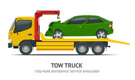 Tow truck city road assistance service evacuator. Tow truck delivers the damaged vehicle. Vector illustration isolated on white background. Side view Royalty Free Stock Photo