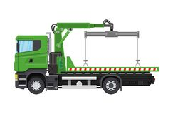 Tow truck. City road side assistance service. Stock Photo