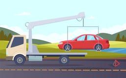 Tow truck. Damaged car evacuation road accident crash broken transport vector cartoon background. Illustration of service truck transportation, evacuator from royalty free illustration