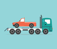 Tow truck driven cars. Stock Image