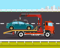 Tow truck. Driven on the road back to the city broken car. Vector illustration Stock Image
