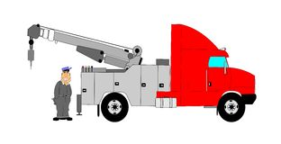 Tow truck driver with his rig Royalty Free Stock Photo