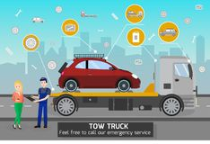 Tow Truck and Driver Services. Vector Illustration royalty free illustration