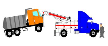 Tow truck with driver Royalty Free Stock Photo