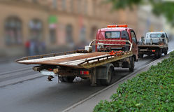 Tow truck with  empty platform Royalty Free Stock Photography