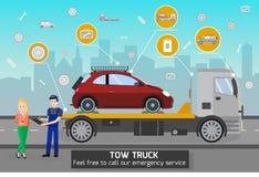 Tow Truck en Bestuurder Services Vector illustratie royalty-vrije illustratie