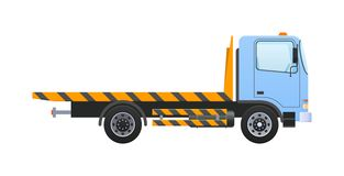Tow truck with equipped winch, lifting transport to platform. Tow truck with equipped winch, lifting transport to platform with ramps. Car for transportation of vector illustration