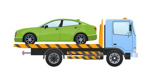Tow truck with equipped winch, lifting transport to platform. Tow truck with winch, with car, lifting transport to platform with sliding ramps. Car for stock illustration