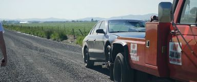 Tow truck, help in a difficult situation royalty free stock images