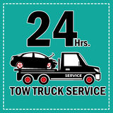 Tow truck 24 Hrs. Towing truck vector icon and 24 Hrs. Service banner. In sticker style Stock Images