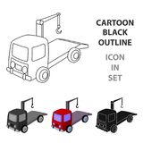 Tow truck icon in cartoon style  on white background. Parking zone symbol stock vector illustration. Stock Image