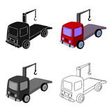 Tow truck icon in cartoon style isolated on white background. Parking zone symbol stock vector illustration. Stock Photo