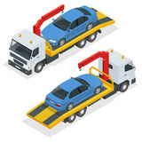 Tow truck isometric vector. Car towing truck 3d flat illustration. Tow truck for transportation faults and emergency Royalty Free Stock Image