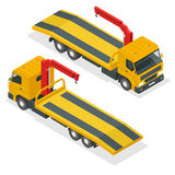 Tow truck isometric vector. Car towing truck 3d flat illustration. Tow truck for transportation faults and emergency Royalty Free Stock Photography