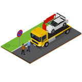 Tow Truck Isometric View Vettore Immagine Stock Libera da Diritti