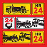 Tow truck for large vehicles. Sign, icon Stock Photos