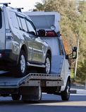 Tow truck loaded. Up the car Royalty Free Stock Image