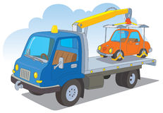 Tow truck with a passenger car. Tow truck with a orange passenger car Royalty Free Illustration