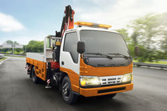 Tow truck patrolled on highway Royalty Free Stock Images