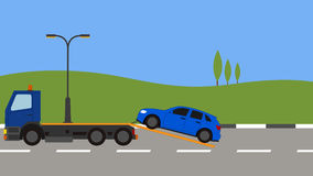 Tow truck picking up a car in town stock illustration