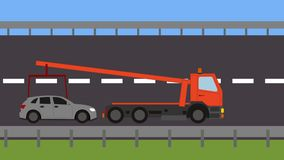 Tow truck picking up a vehicle on the road. Animation stock footage