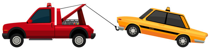 Tow truck pulling yellow taxi. Illustration Stock Photo