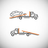 Tow Truck. Roadside assistance car towing truck. Vector image for icon, logo and pictogram design. Graphic element in orange, black and grey colors Stock Image