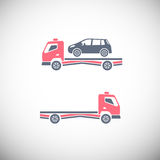 Tow Truck. Roadside assistance car towing truck. Vector image for icon, logo and pictogram design. Graphic element in pink, violet and grey colors Stock Photography