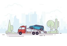 Tow truck service. City tow truck on city road. Urban background, skyscrapers and buildings, park and trees. Emergency assistance on the road concept with city royalty free illustration