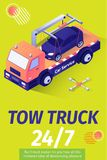 Tow Truck Service for Evacuation Offering Poster. Poster Offering Tow Truck Service for Car Evacuation with Place for Advertising Text and Company Logo. Vector stock illustration
