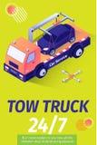 Tow Truck Service para o cartaz de oferecimento da evacuação ilustração stock