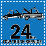 Tow truck service. Towing truck vector sticker icon and 24 Hrs. Service banner Stock Photography